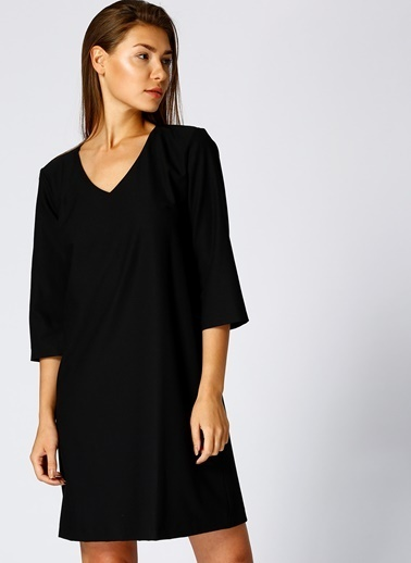 Limon Company V Yaka Truvakar Kol Kısa Elbise Siyah
